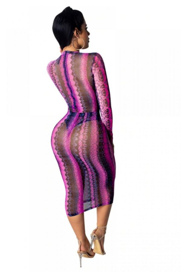 Nice body sheer mesh snake skin midi dress