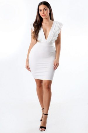 White Dress Ruffle V Neck 00