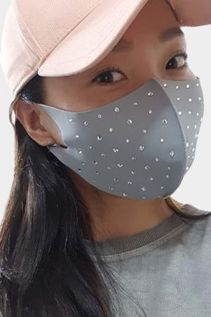fashion face mask with rhinestone grey