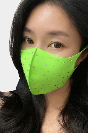 fashion face mask with rhinestone neon