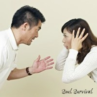 young asian couple having an argument. arguing