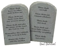 Moses Ten Commandments Stones Isolated on White Background.