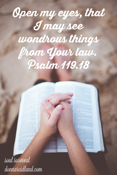 Psalm 119.18 Open my eyes, that I may see Wondrous things from Your law.