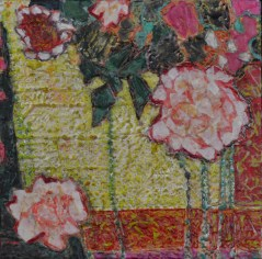"""""""Georgica Rose,"""" Encaustic and Paper on Board, 12""""x12"""""""