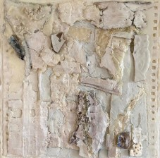 """Remains 1,"" Encaustic, Paper, Porcelain on Board, 8.5""X8.5"""
