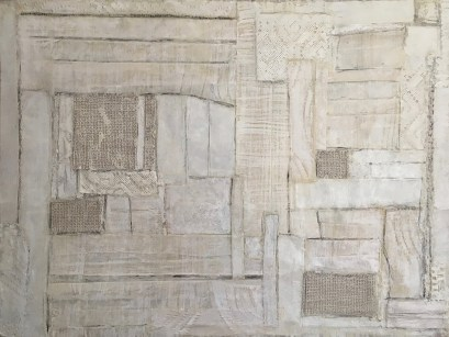 """White Linen,"" Encaustic, Fabric and Paper on Board, 18""x24"""