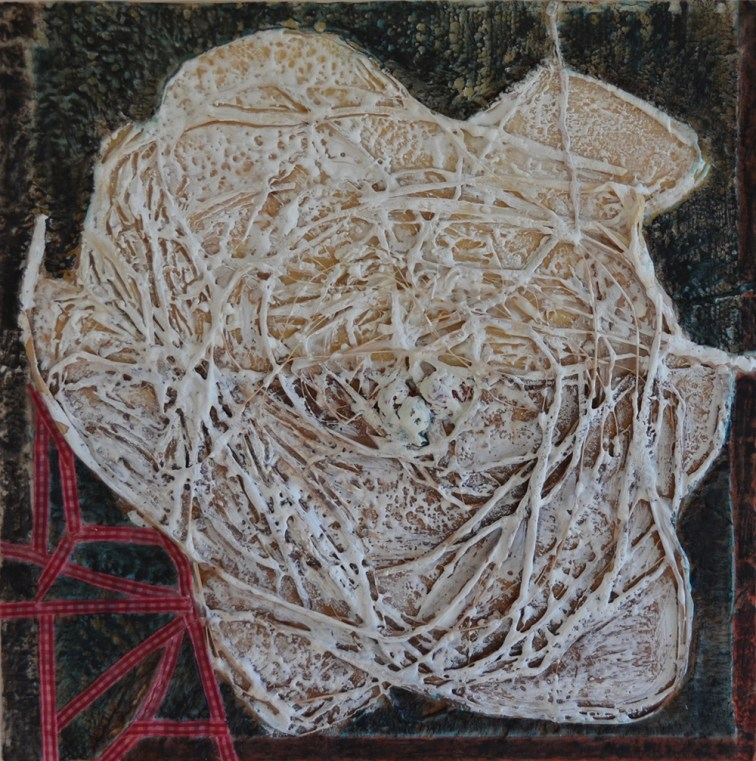 """""""Wrapped In White,"""" Encaustic, Twine, Ribbon on Board, 12""""x12"""""""