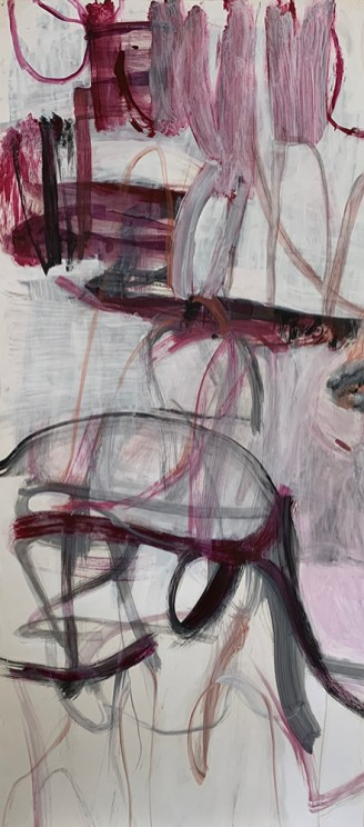 """Winter Rose 1,"" 2020, Mixed Media on Paper, 58""x26"""