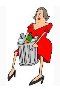 drawing of a dressed up woman taking out the trash