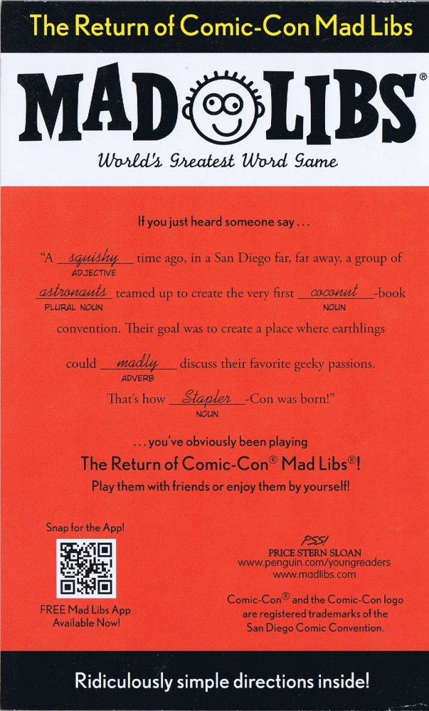 MAD LIBS: The Return of Comic-Con Mad Libs - San Diego Exclusive