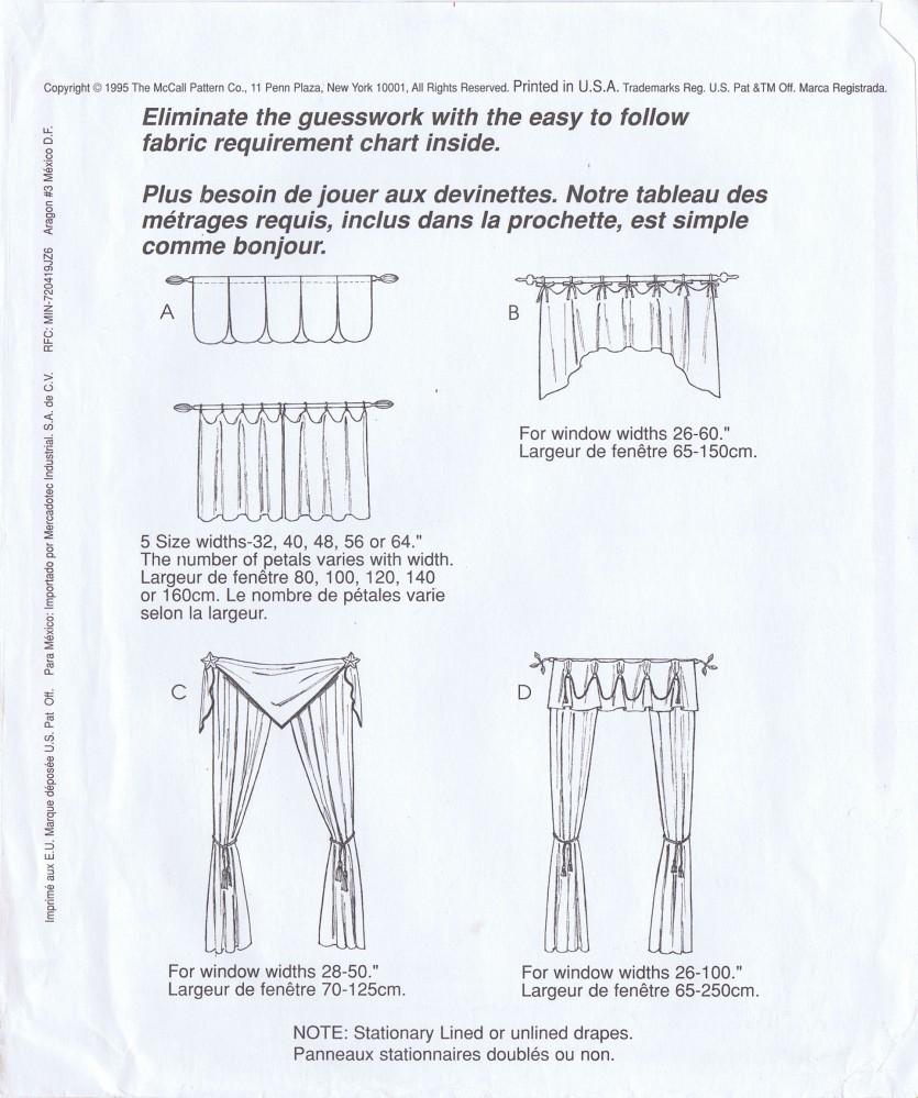 valances cafe curtains drapes mccall s 8038
