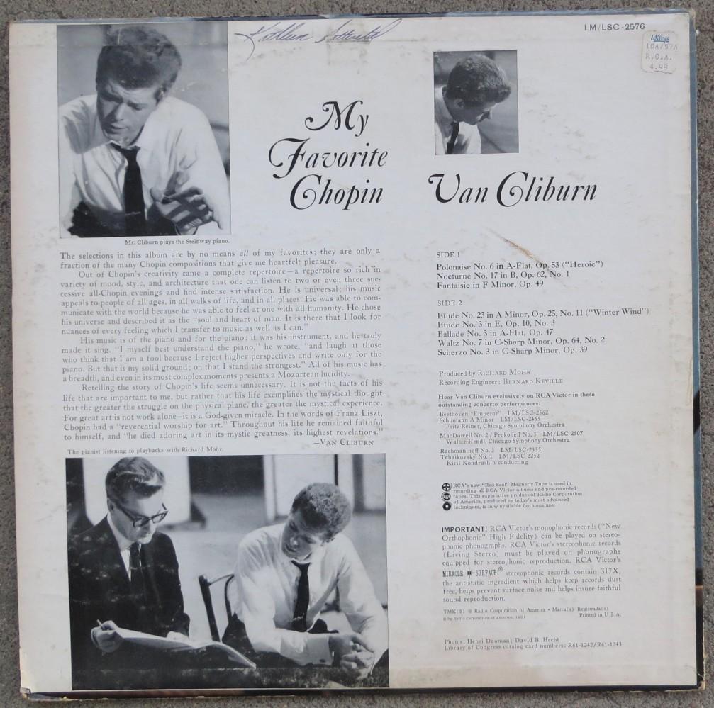 MY FAVORITE CHOPIN - Van Cliburn, RCA Victor LM-2576