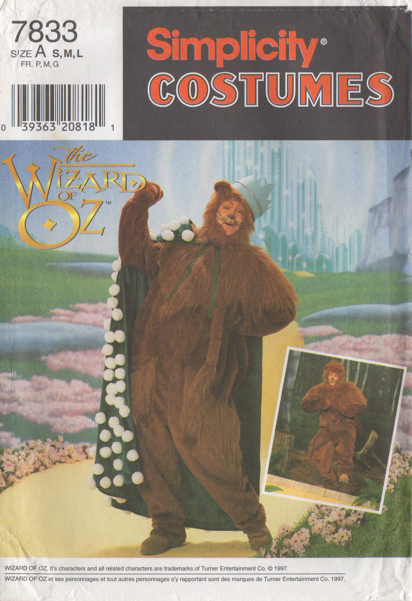 85805e615 THE LION FROM THE WIZARD OF OZ – Simplicity 7833, Men S-M-L