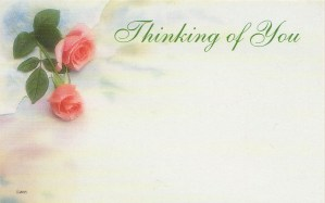 Thinking of You floral enclosure card - pink roses
