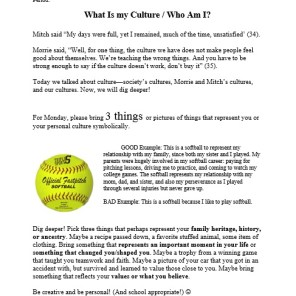Who I Am/My Culture Assignment Sheet - selecting 3 artifacts that represent/symbolize you