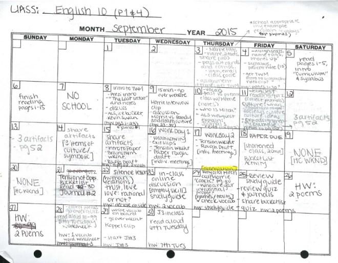 English 10 - September
