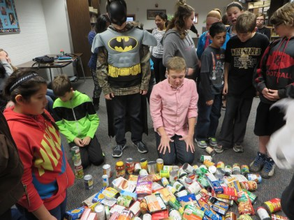 Look at all the cans/boxed goods we gathered!