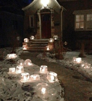 Ice candles outside Chechiks at Sara's memorial reception