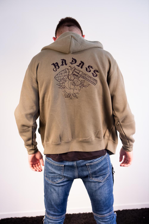 Zipped Hoodie Badass Kaki