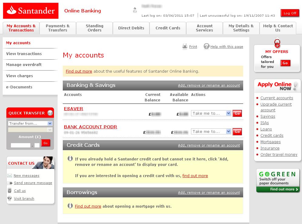 santander internet banking apply