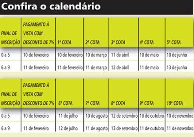 tabela IPTU 20calendario 20rio 20de 20janeiro1 Tabela do IPTU, preços e valores da cidade do Rio de Janeiro