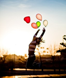happiness girl with balloons