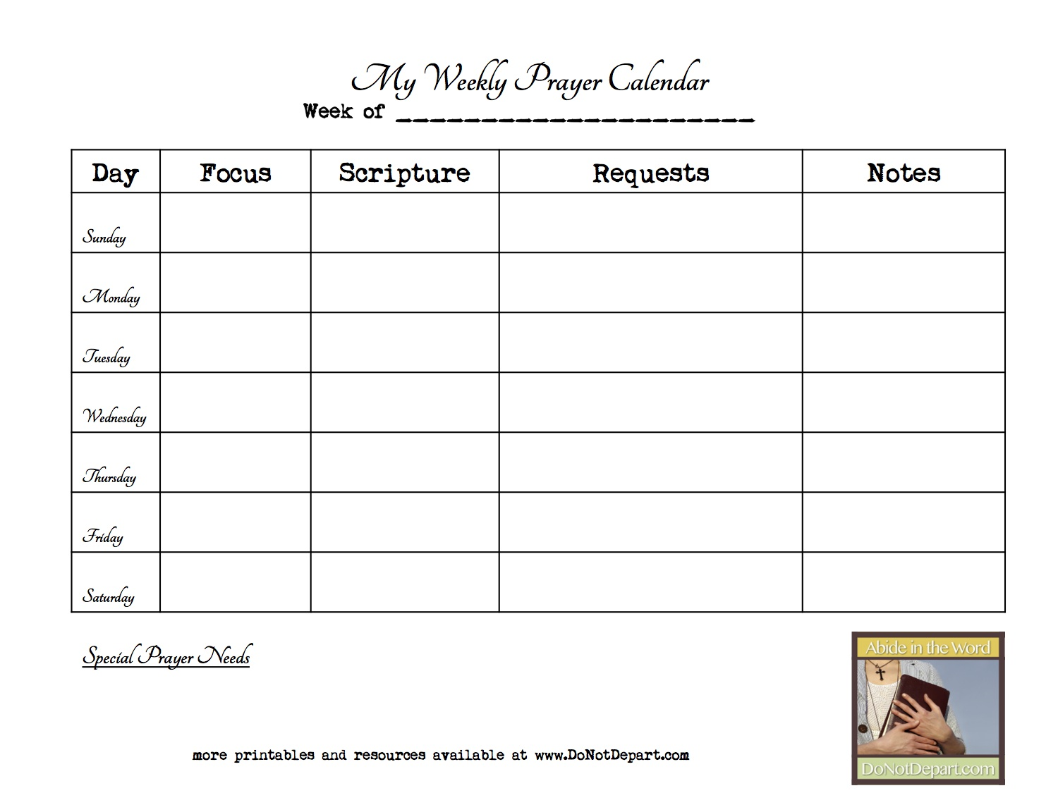 Weekly Prayer Calendar