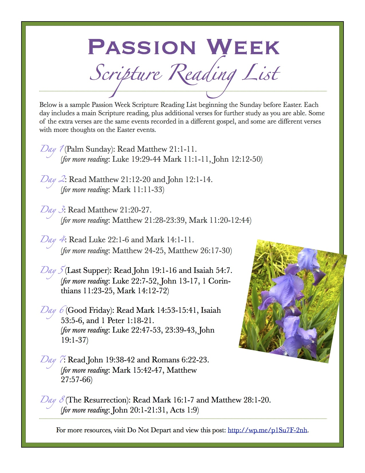 Passion Week Scripture Reading List
