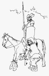 Don Quijote y Sancho Pansa con la lanza