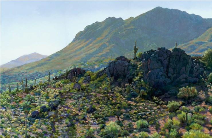 Desert Backlight by Western pastel landscape artist Don Rantz