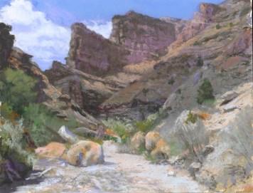 Side Canyon by Western pastel landscape artist Don Rantz