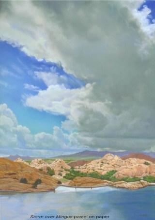 Storm over Mingus by Western pastel landscape artist Don Rantz