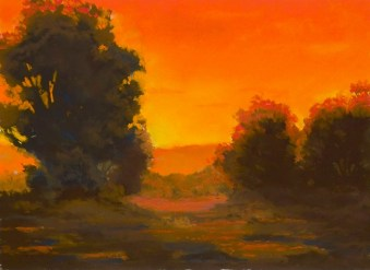 Study in Orange by Western pastel landscape artist Don Rantz