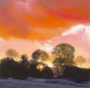 Patagonia Sunset by Western pastel landscape artist Don Rantz