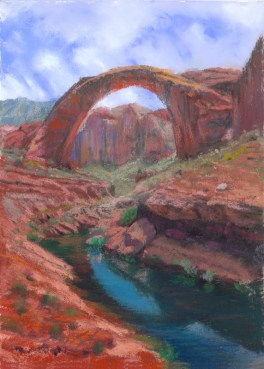 Rainbow bridge by Western pastel landscape artist Don Rantz
