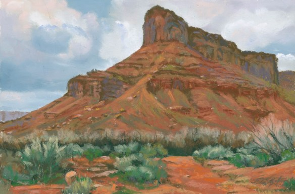 Red Butte Rising by Western pastel landscape artist Don Rantz