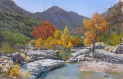 Sabino Canyon Pool by Western pastel landscape artist Don Rantz