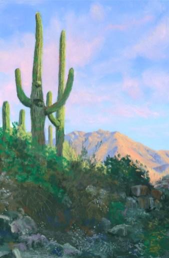 Saguaro in the Sun by by Western pastel landscape artist Don Rantz