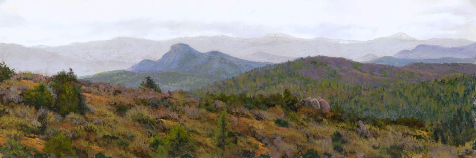 Thumb Butte Panorama by Western pastel landscape artist Don Rantz