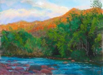 Verde River-Evening by Western pastel landscape artist Don Rantz