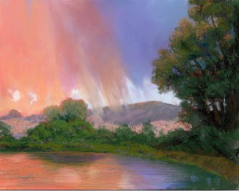 Willow Lake by Western pastel landscape artist Don Rantz