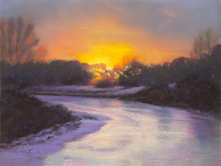 Winter Sunset by Western pastel landscape artist Don Rantz