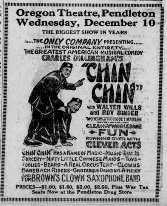 Donna in Pendleton, OR, at the Oregon Theater – Dec 10, 1919