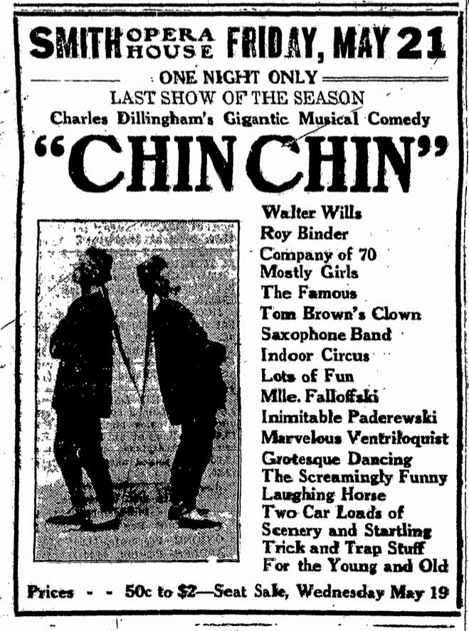 """Chin Chin"" plays Smith Opera House – 21 May 1920"
