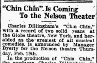 Donna in Logansport, IN, at the Nelson Theatre – February 19, 1920