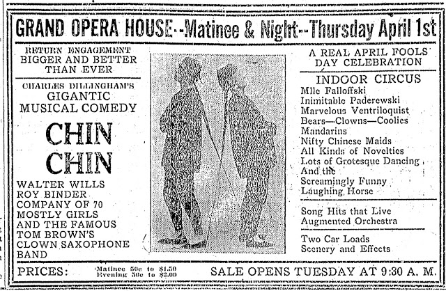 "Donna Montran and ""Chin Chin"" play at the Grand Opera House in Canton, Ohio on 1 April 1920"