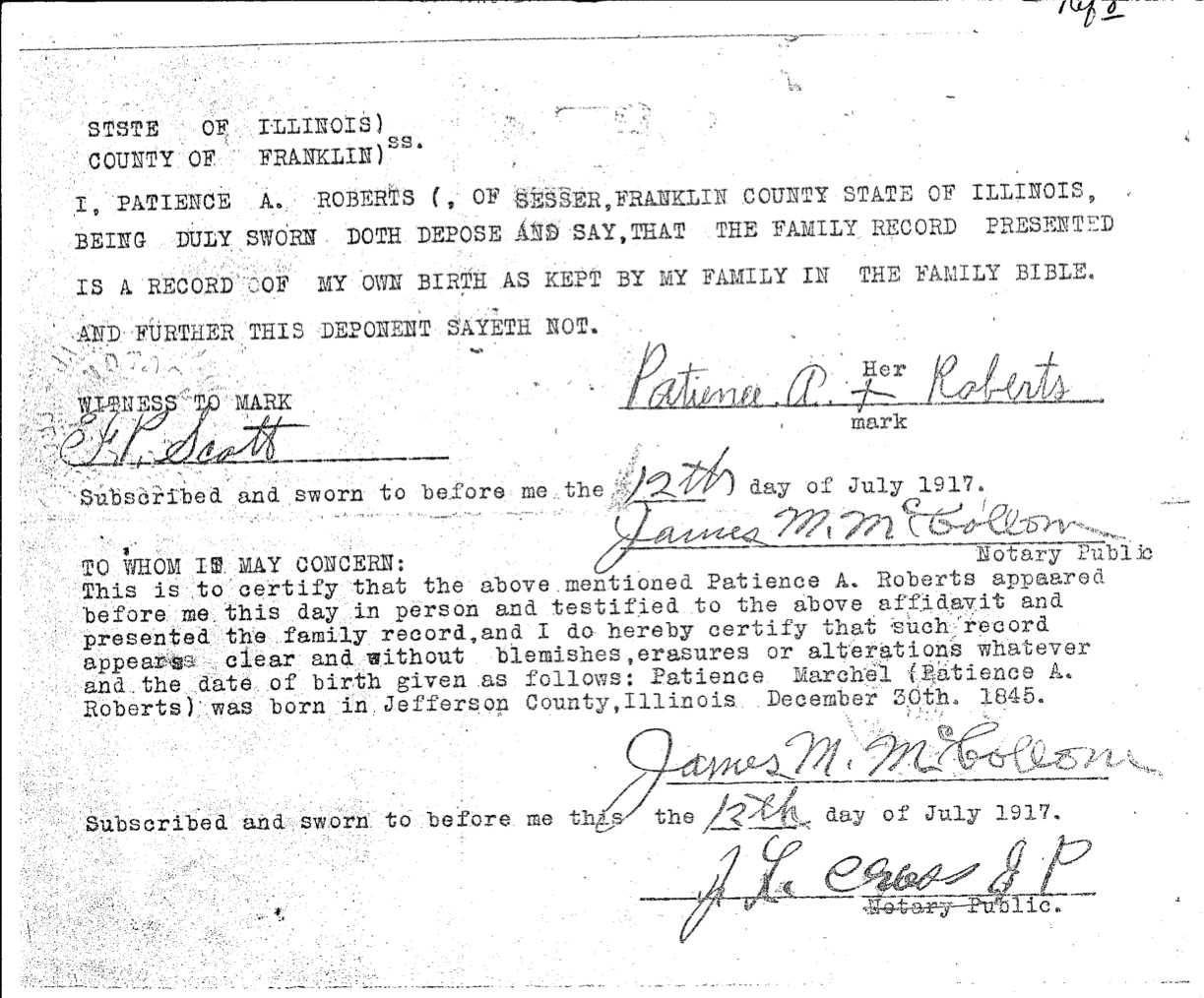 Patience A Roberts Birth Record