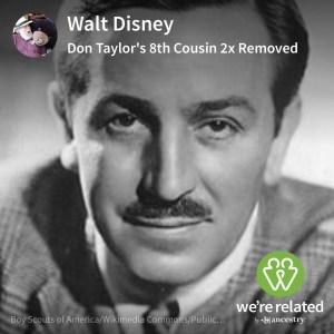 Walt Disney - 8th Cousin