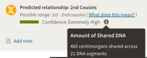 "Screen shot showing ""HC"" and author share 460 centimorgans of DNA."