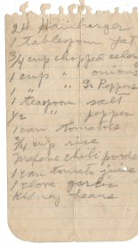 Handwritten Recipe of Donna's Chili Rice